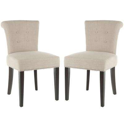 Britannia True Taupe/Espresso Linen Blend Side Chair (Set of 2)