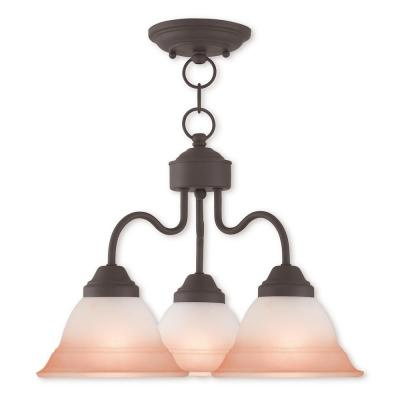 Wynnewood 3-Light Bronze Convertible Chandelier with Hand Applied Sunrise Marble Glass Shade