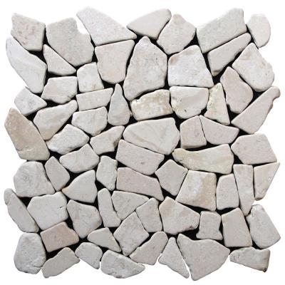 Fit Mosaic Tile White 11.375 in. x 11.375 in. x 9.5 mm Indonesian Marble Mesh-Mounted Mosaic Tile (9.955 sq. ft. / case)