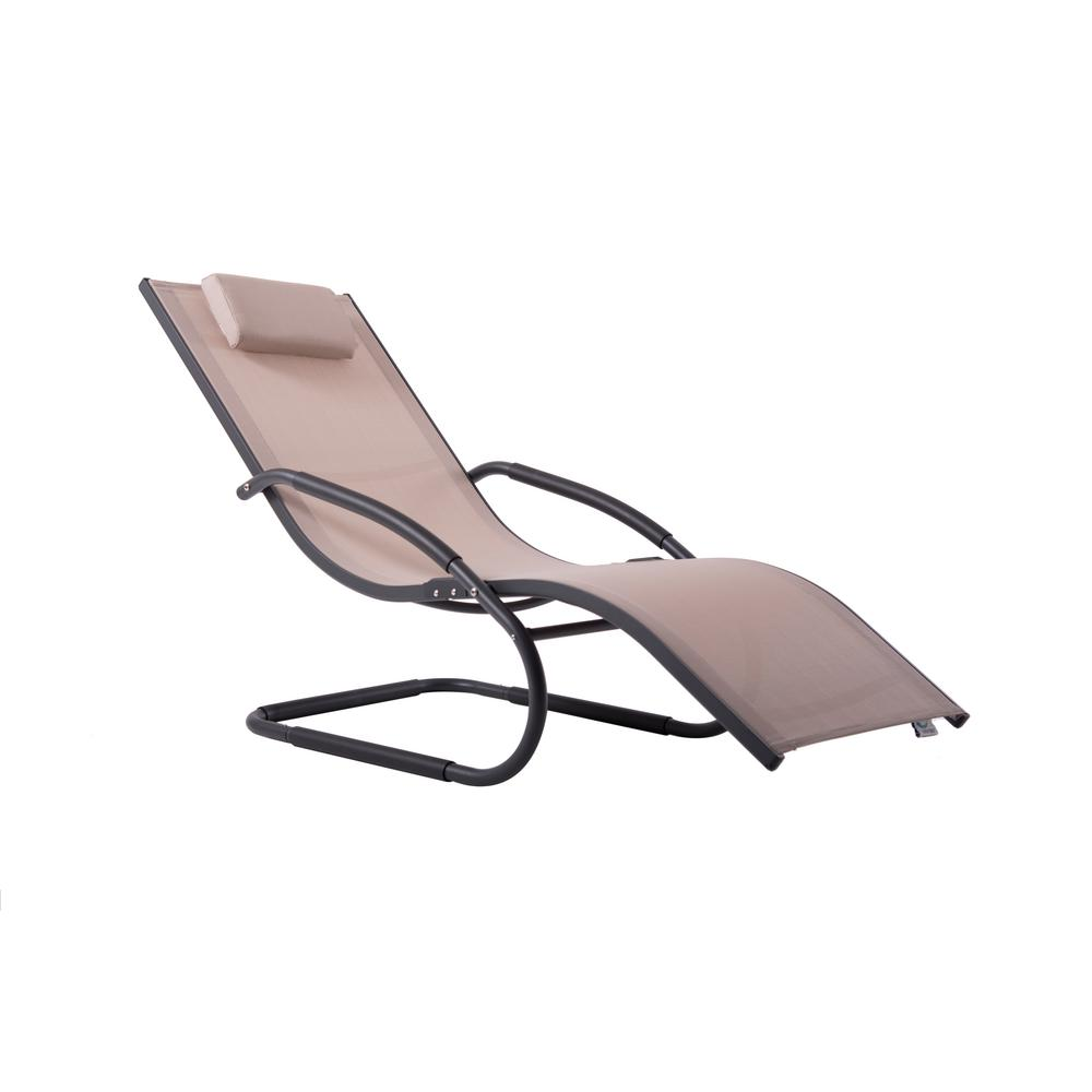 Incredible Vivere Wave Matte Dark Grey Aluminum Outdoor Lounge Chair In Macchiato Sling Gmtry Best Dining Table And Chair Ideas Images Gmtryco