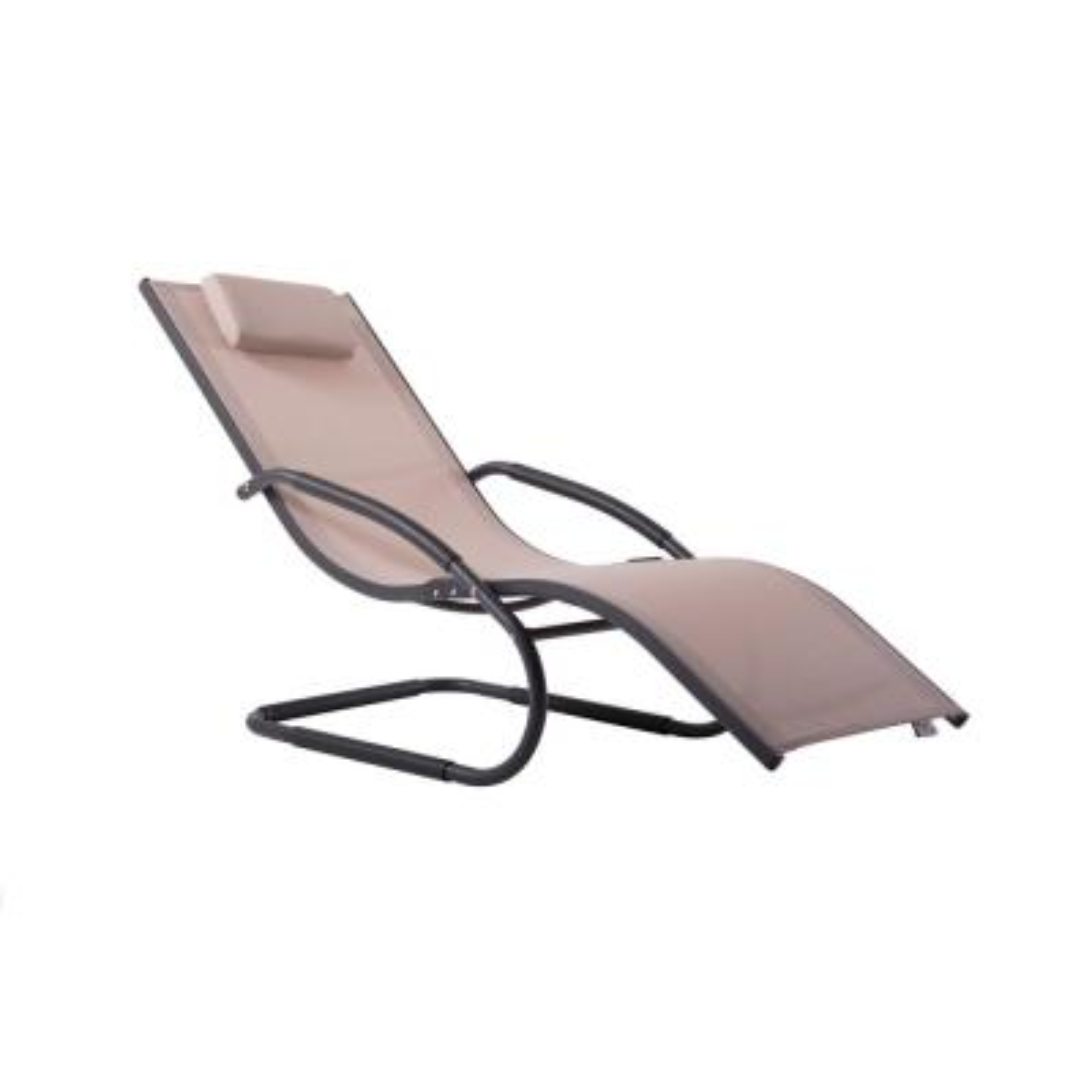 Wave Matte Dark Grey Aluminum Outdoor Lounge Chair in Macchiato Sling