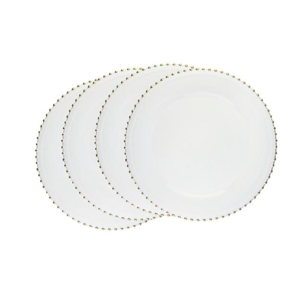 Elle Decor White Melamine Charger Plates with Gold Beaded (4-Pack) 1270495-4