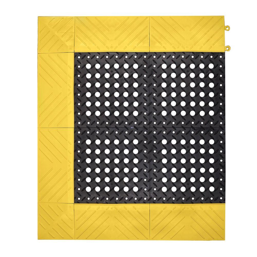 Yellow Kitchen Mats: NoTrax Diamond Flex-Lok Black With Yellow Safety Border 30