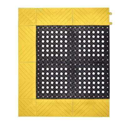 Diamond Flex-Lok Black with Yellow Safety Border 30 in. x 60 in. PVC Ati-Fatigue/Safety Mat