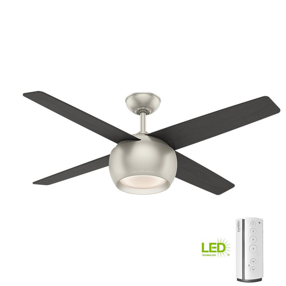 Valby 54 in. LED Indoor Matte Nickel Ceiling Fan with Light