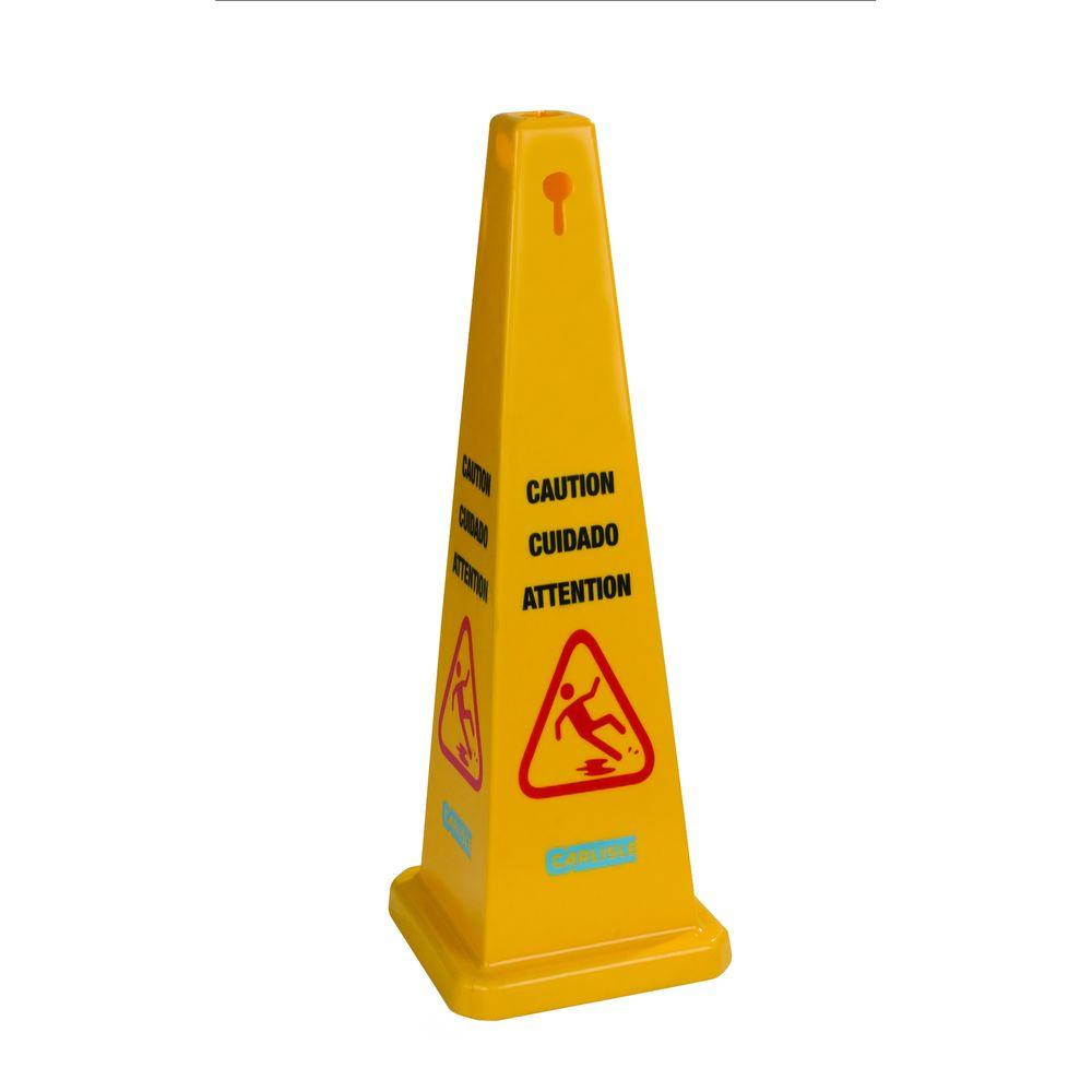 4 Sided English/Spanish/French Caution Cone (Case Of 3
