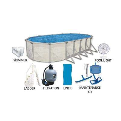 Independence 18 ft. x 33 ft. Oval 52 in. Deep Hard Side Metal Wall Above Ground Pool Package with Entry Step System