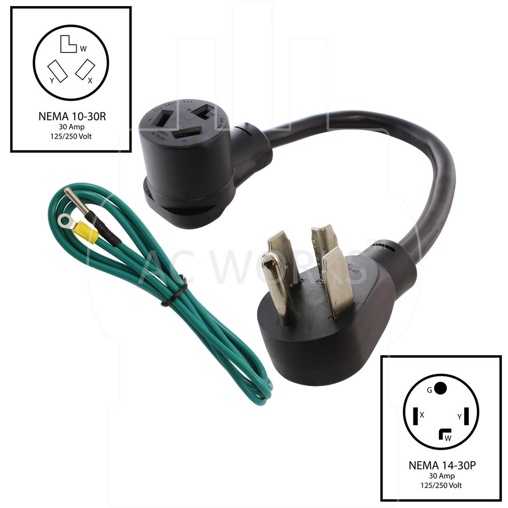 AC WORKS 1.5 ft. 4-Prong Dryer Plug to 3-Prong Dryer Female Connector  Adapter-S14301030-018 - The Home DepotThe Home Depot
