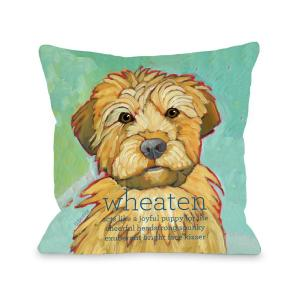 Wheaten Teal Brown Graphic Polyester 16 in. x 16 in. Throw Pillow