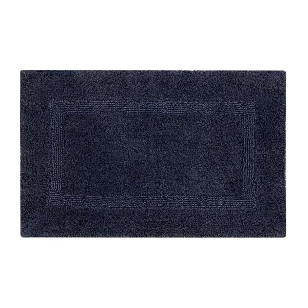 Racine Stone Wash Navy 21 in. x 34 in. Cotton Bath Rug