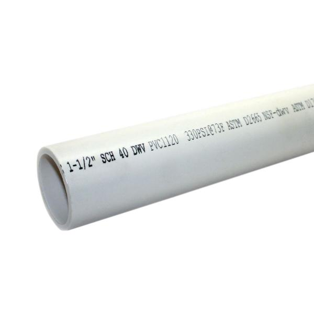 1-1/2 in. x 10 ft. 330-PSI Schedule 40 PVC DWV Plain End Pipe