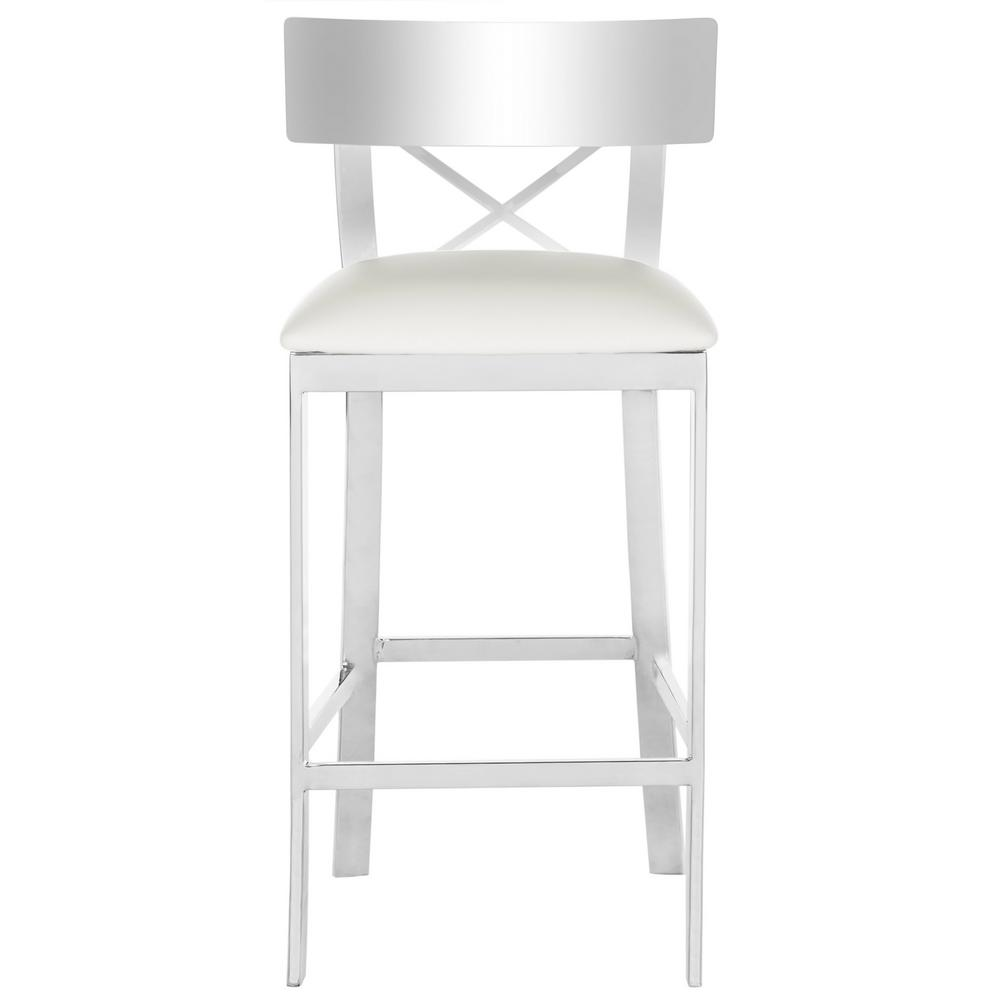 Stainless Steel Cross Back Counter Stool In White