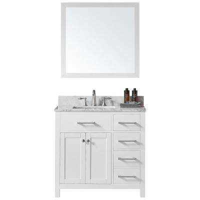 Colette 36 in. W x 22 in. D x 34.2 in. H Bath Vanity in White w/ Marble Vanity Top in White w/ White Basin and Mirror