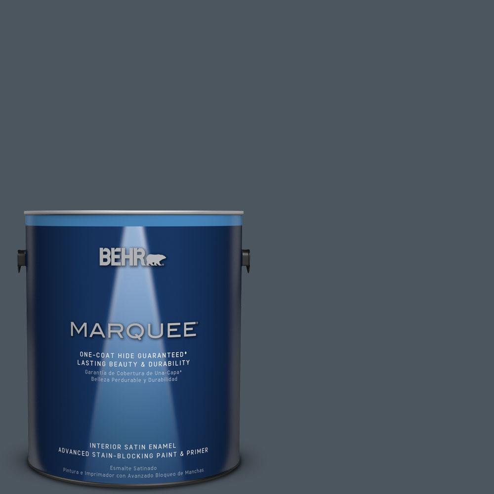 1 gal. #N480-7 Midnight Blue One-Coat Hide Satin Enamel Interior Paint
