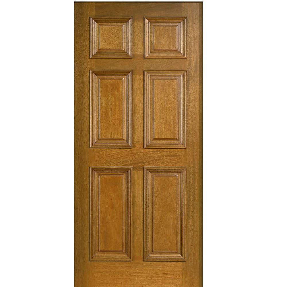 Main Door 32 in. x 80 in. Solid Mahogany Type 6-Panel Prefinished Golden Oak Wood Front Door Slab