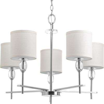 Status Collection 5-Light Polished Chrome Chandelier with White Linen Shade