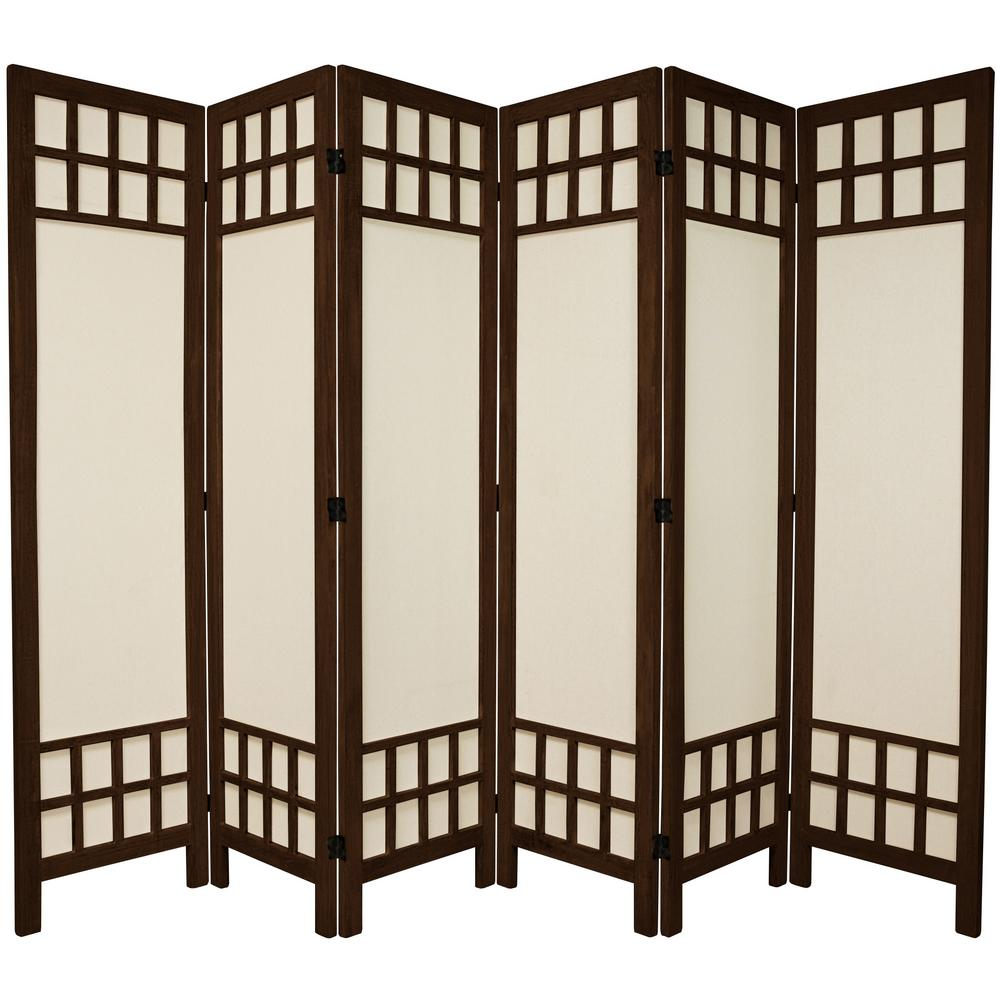 Oriental furniture 6 ft burnt brown muslin window pane 6 for Oriental furniture