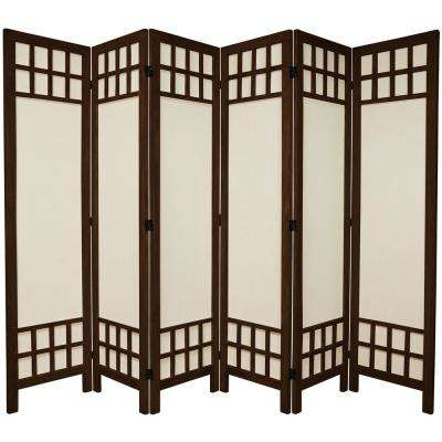 6 ft. Burnt Brown Muslin Window Pane 6-Panel Room Divider