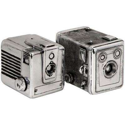 Vintage Silver Camera Boxes (Set of 2)