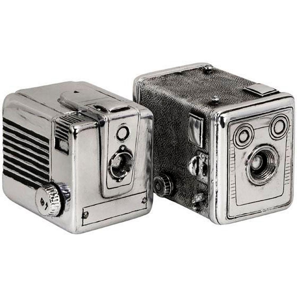 Vintage Silver Camera Boxes (Set of 2)