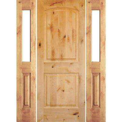 64 in. x 80 in. Rustic Knotty Alder Arch clear stain Wood Right Hand Inswing Single Prehung Front Door/Half Sidelites