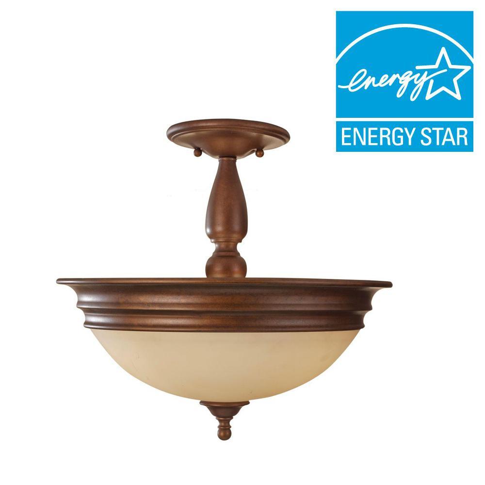 Yorktown Heights 3-Light Prescott Bronze Semi-Flush Mount