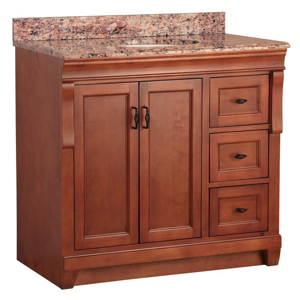 Home Decorators Collection Naples 37 in. W x 22 in. D Bath Vanity in Warm Cinnamon with Right Drawers and Stone Effects Vanity Top in Santa Cecilia was $949.0 now $664.3 (30.0% off)