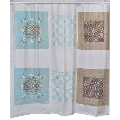 71 in. x 71 in. Faience Collection Printed Peva Liner Shower Curtain Plastic
