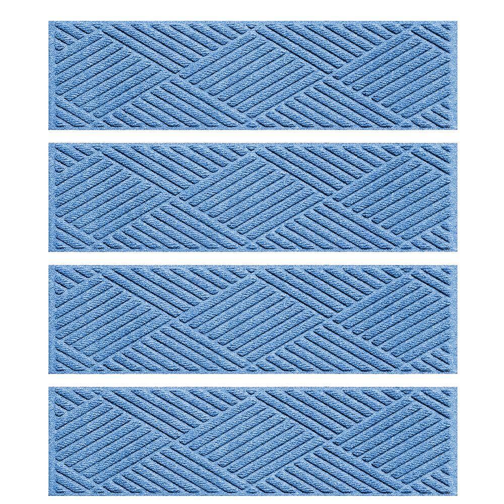 Medium Blue 8.5 in. x 30 in. Diamonds Stair Tread (Set of 4)
