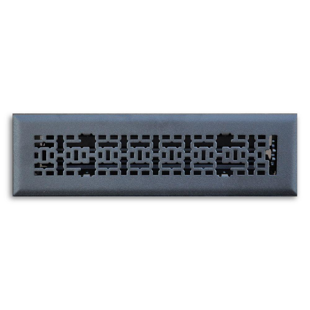 2 in. x 12 in. Modern Contempo Floor Diffuser, Matte Black
