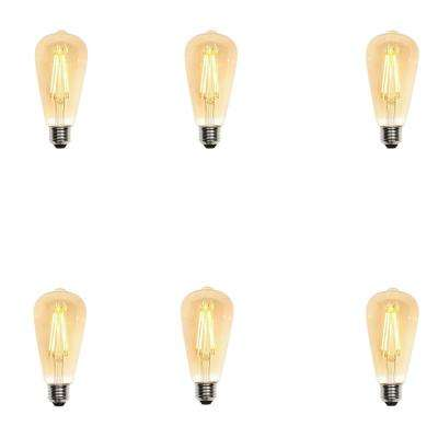 60W Equivalent Amber ST20 Dimmable Filament LED Light Bulb (6-Pack)