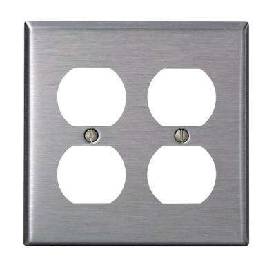2-Gang Standard Size Stainless Steel Wall Plate and 2-Duplex Receptacles in Stainless Steel