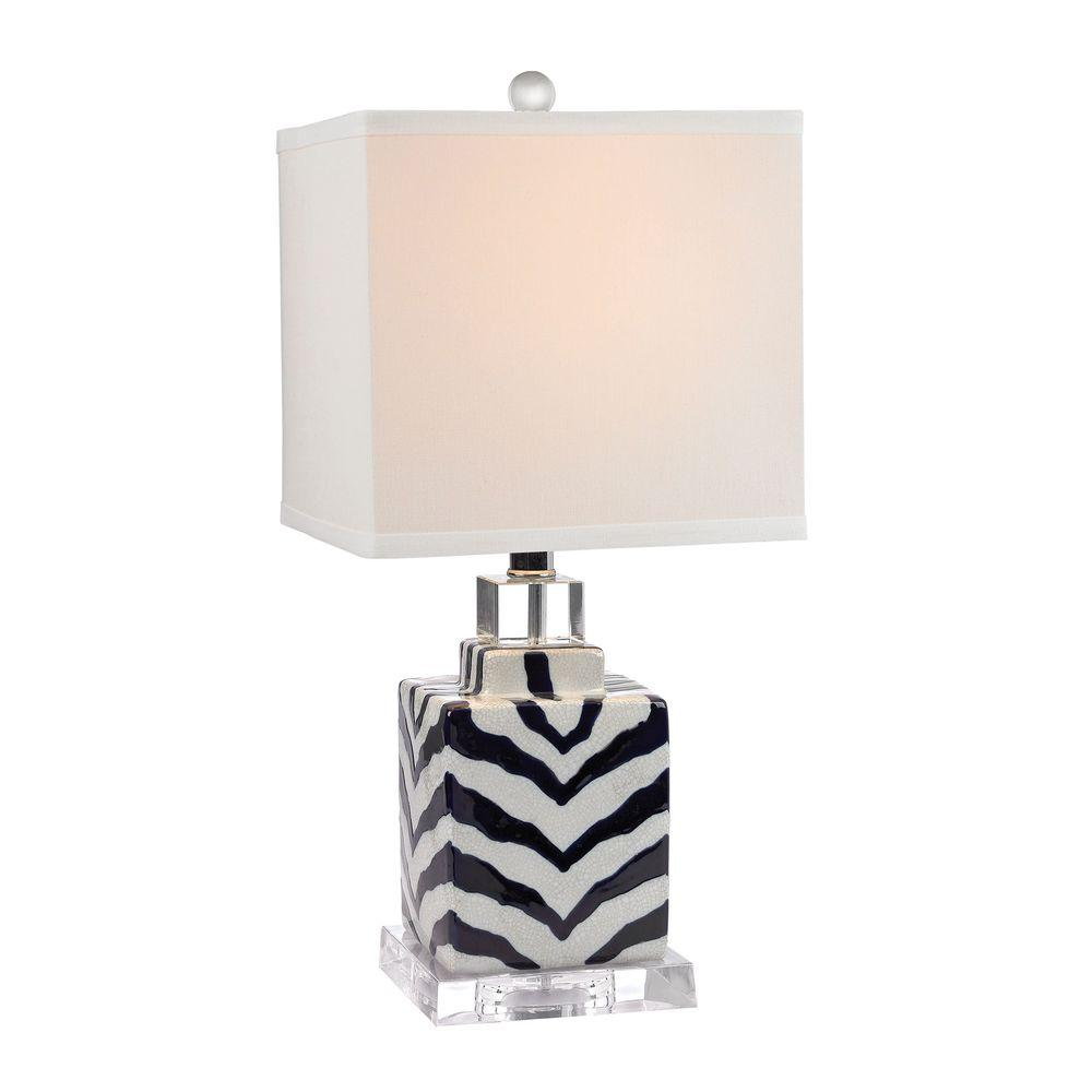 Titan lighting animal print 21 in navy and white ceramic table titan lighting animal print 21 in navy and white ceramic table lamp tn 999144 the home depot geotapseo Gallery
