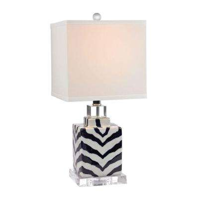Animal Print 21 in. Navy and White Ceramic Table Lamp