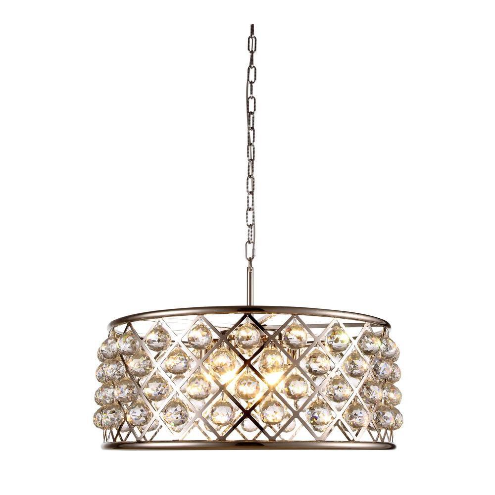 Madison 6-Light Polished Nickel Royal Cut Crystal Clear Pendant