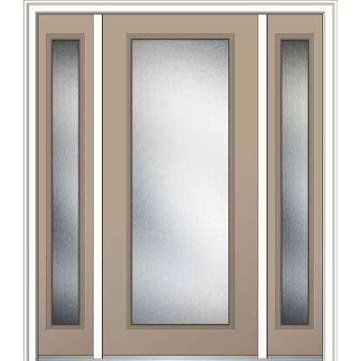 60 in. x 80 in. Micro Granite Right-Hand Inswing Full Lite Decorative Painted Steel Prehung Front Door with Sidelites