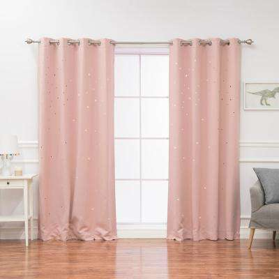 84 in. L Star Cut Out Blackout Curtains in Dusty Pink (2-Pack)