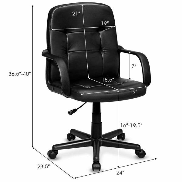 Grey Leather Office Chair Adjustable Swivel Sport Executive Computer Desk Chair