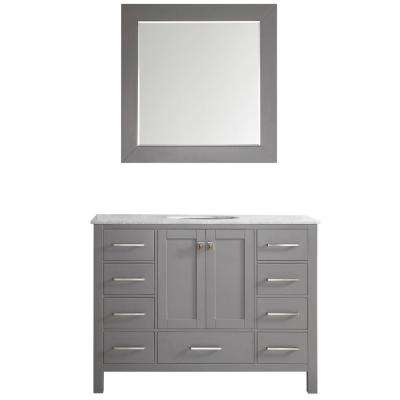 Gela 48 in. W x 22 in. D x 35 in. H Vanity in Grey with Marble Vanity Top in White with Basin and Mirror