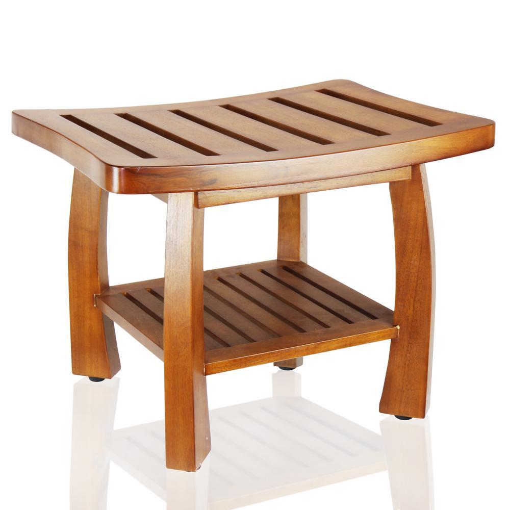 Phenomenal Oceanstar 17 In X 23 75 In Solid Wood Spa Bench With Storage Shelf In Teak Color Inzonedesignstudio Interior Chair Design Inzonedesignstudiocom