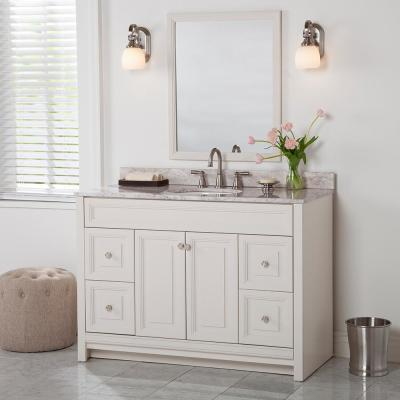Brinkhill 49 in. W x 22 in. D Bathroom Vanity in Cream with Stone Effect Vanity Top in Winter Mist with White Sink