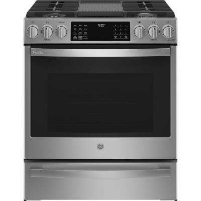 30 in. 5.6 cu. ft. Slide-In Gas Range with Self-Cleaning Convection Oven in Fingerprint Resistant Stainless Steel