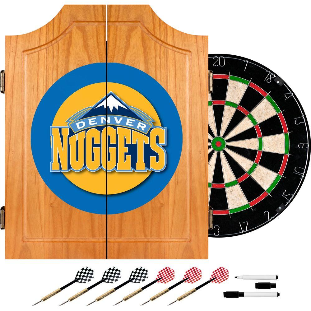 NBA Denver Nuggets Wood Finish Dart Cabinet Set