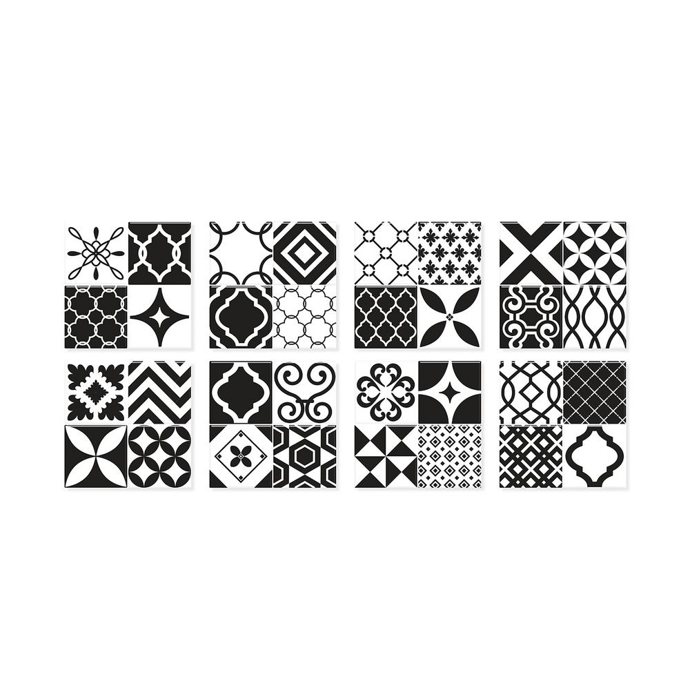 Smart Tiles Vintage Bilbao 9 In W X 9 In H Black And White Peel And Stick Self Adhesive Mosaic Wall Tile Backsplash 4 Pack Sm1090g 04 Qg The Home Depot