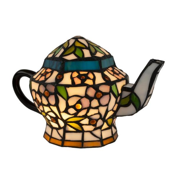 7 in. Multi-Colored Tiffany Style LED Teapot Lamp
