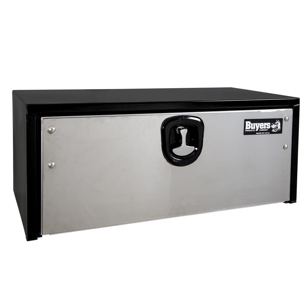 14 in. x 16 in. x 36 in. Black Steel Underbody Truck Box with Stainless Steel Door