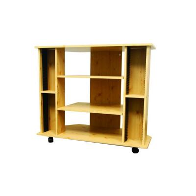 18 in. Natural Wood TV Stand Fits TVs Up to 42 in. with Wheels