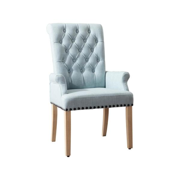 Boyel Living Light Blue Classic Linen Fabric Accent Arm Chair Upholstered Dining Chairs Zb Ph3002 2 Bl The Home Depot