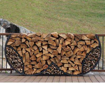 ShelterIT 8 ft. Firewood Log Rack with Kindling Wood Holder - Double Round