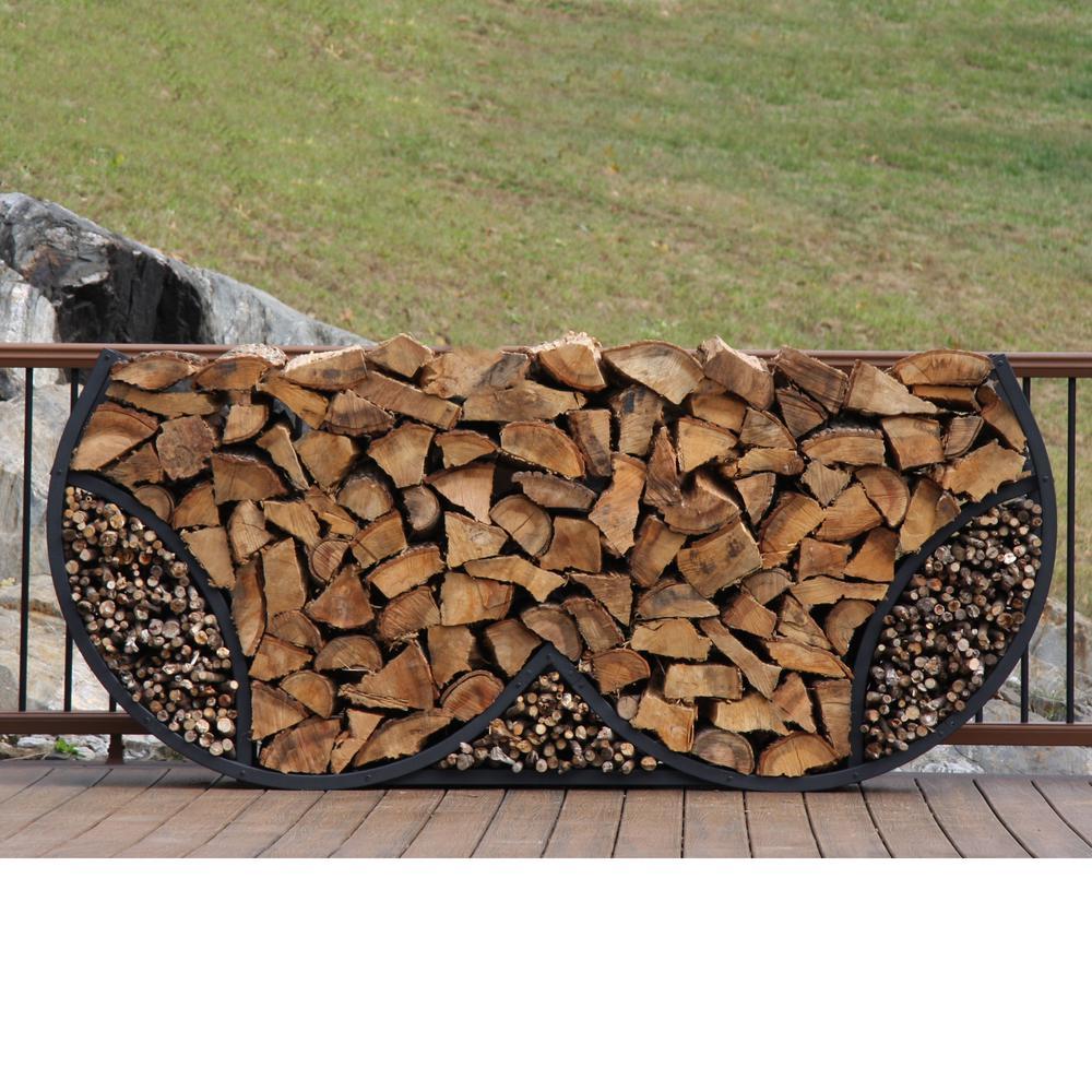ShelterIT 8 ft. Firewood Log Rack with Kindling Wood Holder - Double Round